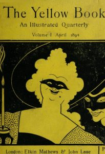 Black image on yellow shows a large masked woman. Beside her on the left is a burning candle. Beside her on the right is a masked man.