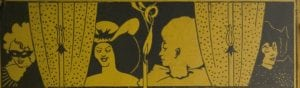 Detail of back cover design by Aubrey Beardsley, showing four figures behind the curtains of a stage or window, with three candles in front. From left: a masked figure; a woman with a hat; a Poirrot in profile facing left; and a female figure facing left.