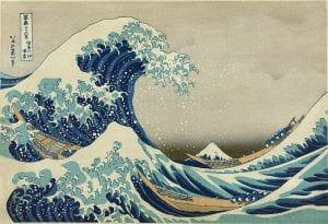 A blue wave in the ukiyo-e style of printmaking