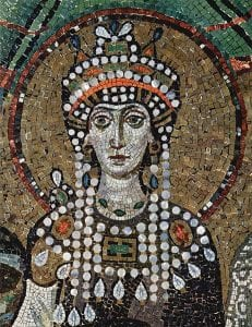 Mosaic tile portrait of a woman wearing a Byzantine headdress, decorated with peals.