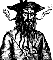 Blackbeard, the threatening pirate.