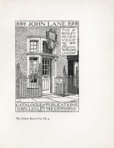 Pen-and-ink illustration of the front facade of The Bodley Head's publishing office in London, England.