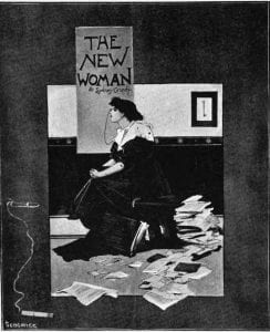 A black and white poster of a woman sitting on a stool while papers are scattered around the floor and a poster with New Woman is above her.