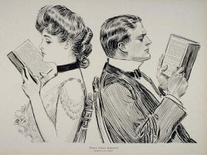 Illustration of a male and female with their backs to each other, sitting on chairs and reading.