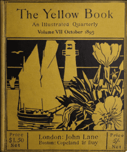 Black image on yellow shows a flower in the foreground, a lighthouse and boat in the background.