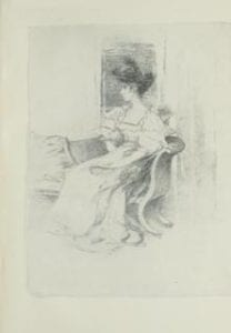 Grey sketch on paper of woman sitting on a hair, looking to her right side.