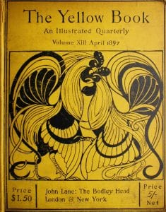 A rooster is placed on the left with a chicken on the right. They have their heads touching in the center of the page. The background is yellow and the drawings are done in black. The title is located at the top center.