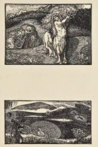 Two lithographs. Top lithograph shows a centaur with long hair in front of a hill. Bottom shows a hilly landscape with black rabbit in the foreground.
