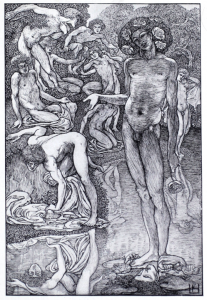 A black and white drawing of a nude man gesturing to another nude man leaning over a pond, staring at his reflection. A host of other bathers occupy the natural background landscape.