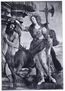 A black and white print of a tender-faced woman standing in adorned robes and holding a halberd at her side as she strokes a sorrowful-looking centaur amid the ruins of marble columns, a body of water in the background.