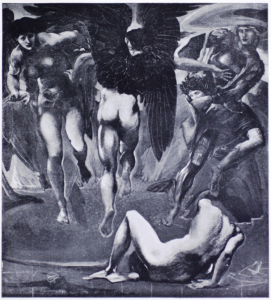 Perseus leaps away from the body of Medusa holding her head, which has become quite detached! A black and white reproduction of Sir Edward Burne Jones, The Death of Medusa II.