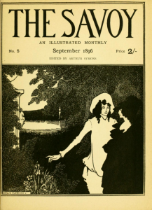 Black ink on cream paper cover image of The Savoy volume five with a man and a woman standing in the brush beside a lake.
