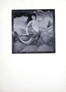 Gray-scale reproduction of a painting of a mermaid.