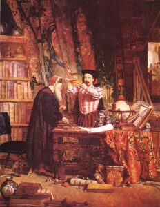 A oil on canvas painting of 1800s alchemy by William Fettes Douglas. 1853. Wikimedia Commons. Public Domain.