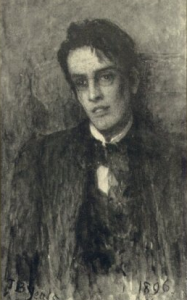Charcoal drawing of W.B. Yeats by his father John Butler Yeats in 1896. Wikimedia Commons. Public Domain.