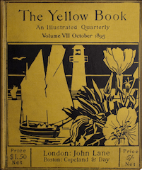 Painted images depicts a boat in a harbour with a lighthouse and flowers. Colours used are yellow and black. Title of magazine appears above the image.