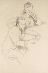 A sketch of Charles Ricketts sitting alongside Charles Shannon