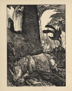 A wood engraving of a fallen and armoured rhinoceros surrounded by flames.