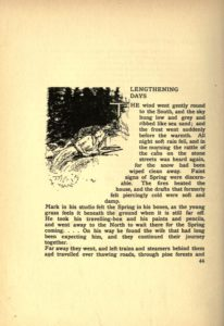 The first page of Lengthening Days by W.G. Burn-Murdoch including text and an image of a man and woman hunting.