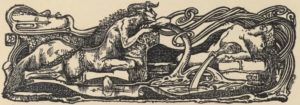An illustration of a centaur and a woman laying, surrounded by ornamental swirls
