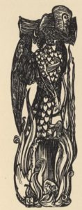 An illustration of an abstract, tall, lean figure