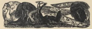 An illustration of three peacocks, two women, and third human shape