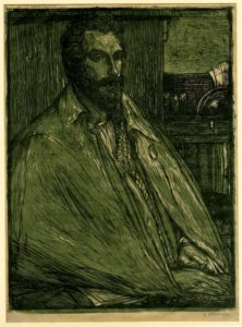 An illustration of a man in a cloak, sitting down, looking to right of him, with his hands folded on the table in front of him