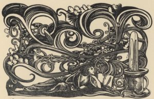 An illustration of a human figure surrounded by large, ornamental swirls